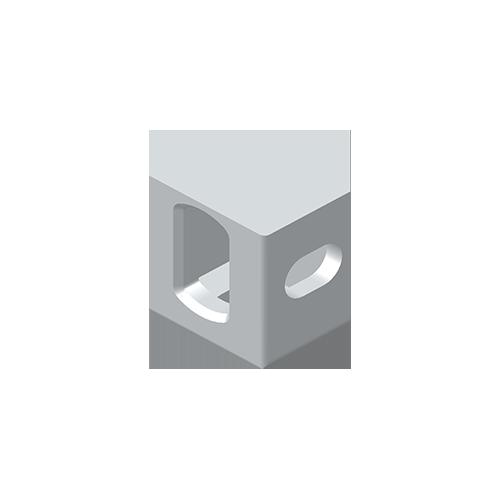 Eckbeschlag, Aluminium nach EN 755, EN AW 7020-T6, unten links / oben rechts, nach ISO 1161