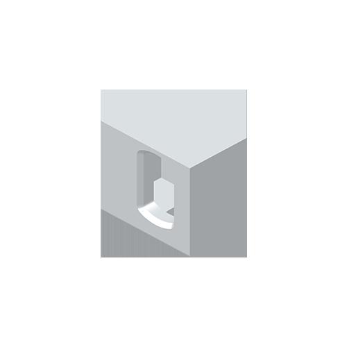 Eckbeschlag, Aluminium EN 755, EN AW 7020-T6, unten rechts, i.A. ISO 1161